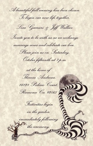 Invitations Single Page Halloween Gothic Wedding & Reception Card