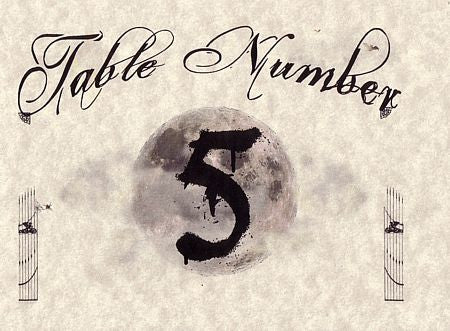Table Cards Halloween Gothic Theme Wedding