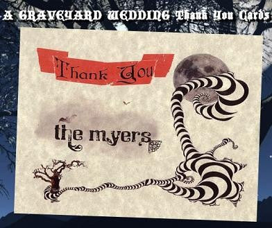 Thank You Cards Halloween Gothic Wedding
