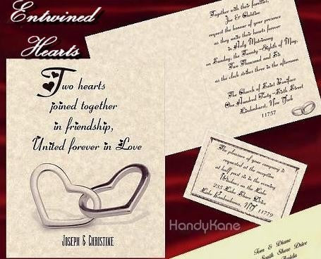 Package Folded Invitation, Reception, RSVP & Thank You Card Heart Ring Theme
