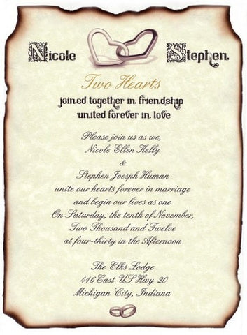 Package Scroll Invitation, Reception Ticket, RSVP & Thank You Card Heart Ring Theme