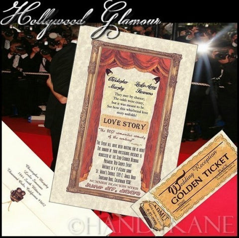 Invitations Single Page & Reception Tickets Hollywood Glamour Theatre Cinema Movie Wedding