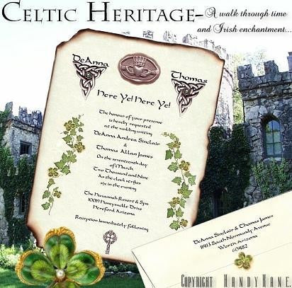 Invitations Scroll Irish Celtic Wedding Invitation Claddagh Scrolls