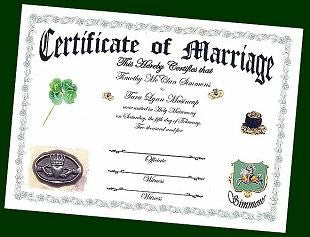 Favors Keepsake Certificate Irish Claddagh Theme