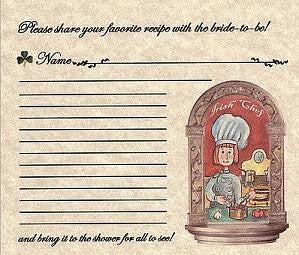 Favors Recipe Cards Irish Claddagh Wedding Favor