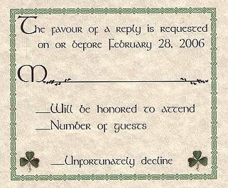 RSVP Irish Celtic Shamrock Wedding Favor Response Cards and Envelopes Style B