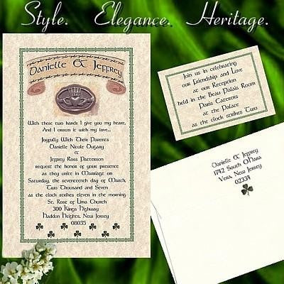 Invitations Single Page Irish Claddagh Single Wedding & Reception Cards