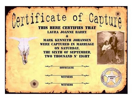 Favors Keepsake Certificate Western Wanted Photo Theme