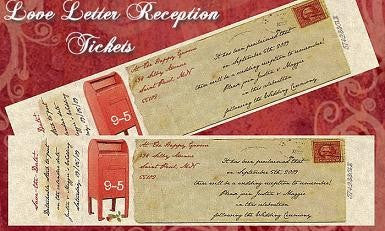 Favors Reception Ticket Love Letter Theme