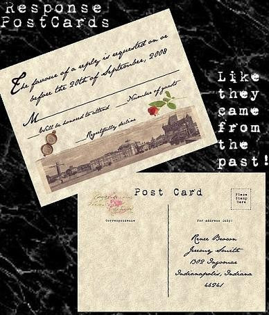 RSVP Post Cards Love Letter Theme