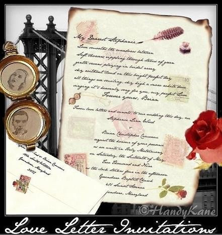 Invitations Scroll Love Letter Theme Wedding