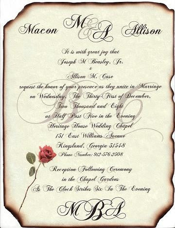 Package Scroll Invitation, Reception Ticket, RSVP & Thank You Card Monogram B Red Rose Theme