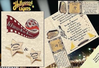 Invitations Folded Hollywood Movie Star Theatre Wedding