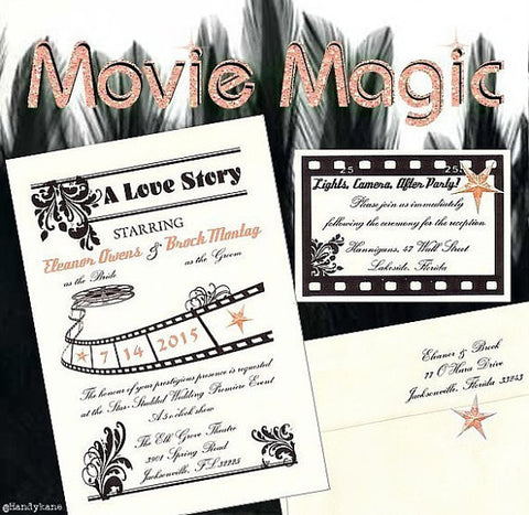 Invitations Single Page Movie Magic Hollywood  Wedding & reception cards