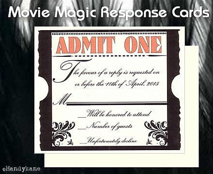 RSVP Hollywood Movie Magic Wedding Favor Response Cards and Envelopes