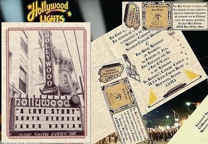Invitations Folded Hollywood Movie Marquee star Love Wedding