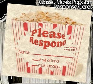 RSVP Hollywood Movie Wedding Favor Response Cards and Envelopes Style C