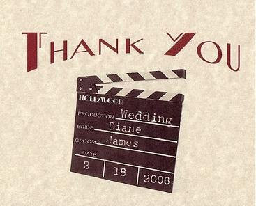 Thank You Cards Hollywood Movie Wedding