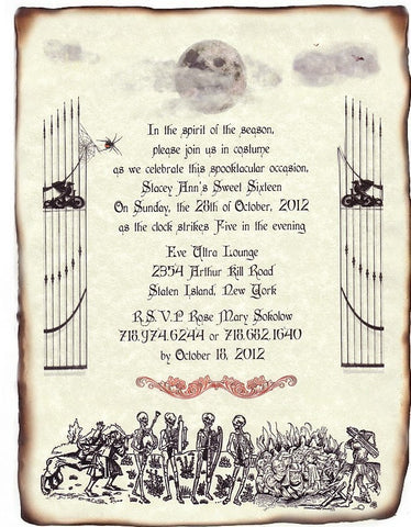 Invitations Scroll Halloween Gothic Wedding B