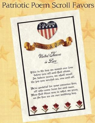 Favors Poem Scrolls Wedding Patriotic Military Theme Favor