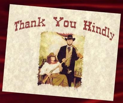 Thank You Cards Photo Western Wedding Theme