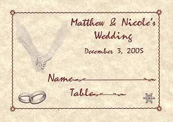 Place Cards Wedding Favor Ring Theme