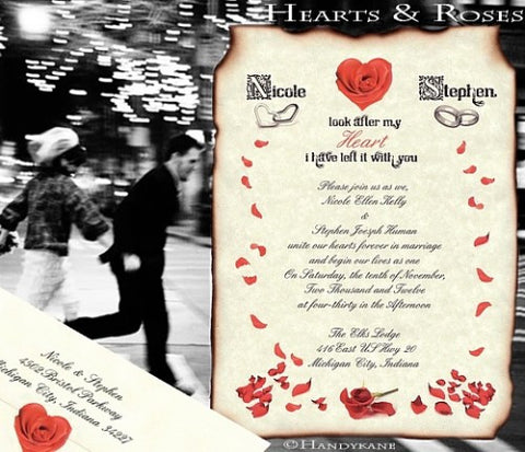 Package Scroll Invitation, Reception Ticket, RSVP & Thank You Card Rose Heart Ring Theme