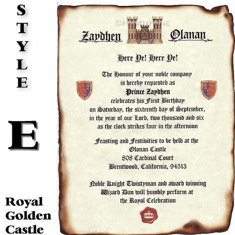 Invitations Scroll Royal Scroll Castle Theme Wedding