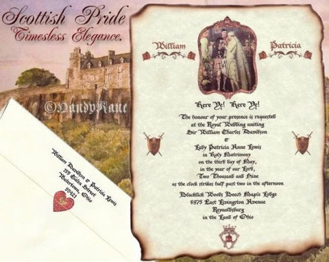 Package Scroll Invitation, Reception Ticket, RSVP & Thank You Card Scottish Pride Theme