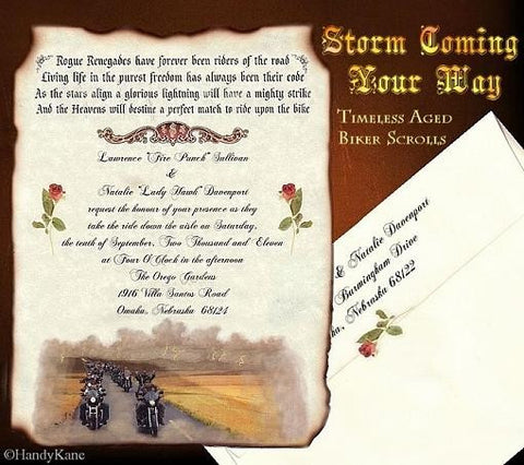 Package Scroll Invitation, Reception Ticket, RSVP & Thank You Card Motorcycle Freedom Theme