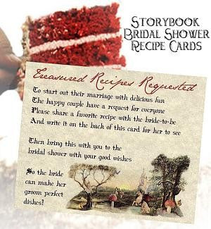 Favors Recipe Cards Storybook Fairy Tale Bridal Shower Favor