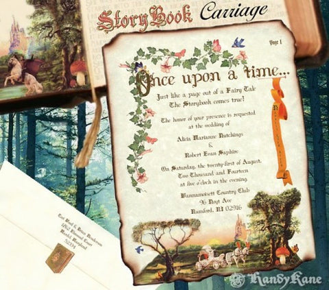 Invitations Scroll Storybook Fairy Tale Carriage Theme Wedding