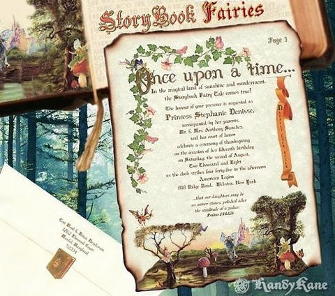 Invitations Scroll Storybook Fairy Tale Fairies Theme Wedding