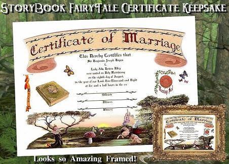 Favors Keepsake Certificate Storybook Fairy Tale Theme