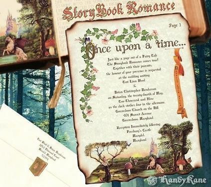 Invitations Scroll Storybook Fairy Tale Theme Wedding