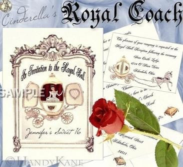 Package Invitation, Reception Card, RSVP & Thank You Card Fairytale Royal Coach Birthday Sweet 16 Theme