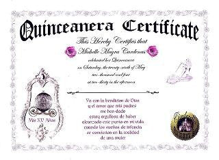 Favors Keepsake Certificate Silver Mirror Princess Carriage Sweet 16 Quinceanera Theme