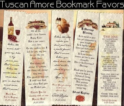 Favors Bookmarks Tuscan Amore Italian Theme Wedding Party Favors