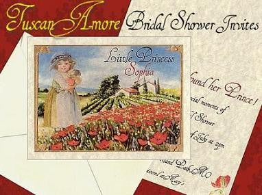 Bridal Shower Invitations Tuscan Amore Italian Theme Style B