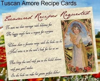 Favors Recipe Cards Tuscan Amore Italian Bridal Shower Favor Style B