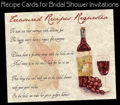 Favors Recipe Cards Tuscan Amore Italian Bridal Shower Favor
