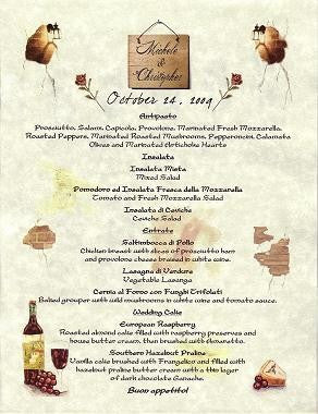 Favors Menu Tuscan Amore Italian Wedding Party Favor