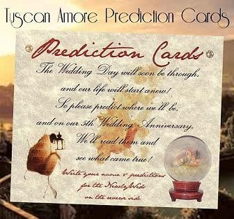Favors Prediction Cards Tuscan Amore Italian Wedding Favor
