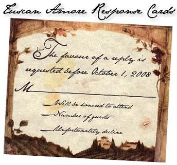 RSVP Tuscan Amore Italian Wedding Favor Response Cards and Envelopes