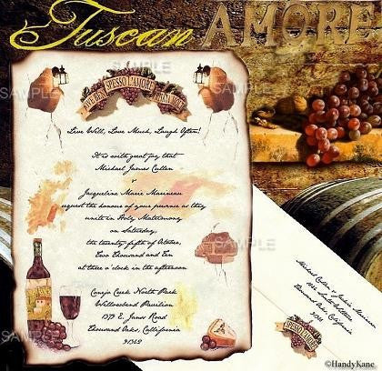 Tuscan Amore Italian Theme Wedding Scroll Invitations Invites