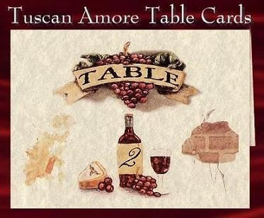 Table Cards Tuscan Amore Italian Theme Wedding