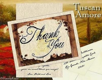 Thank You Cards Tuscan Amore Italian Wedding