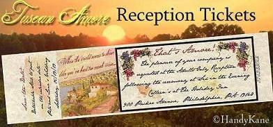 Favors Reception Tickets Tuscan Amore Italian Theme