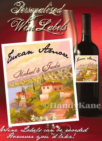 Favors Wine Label Tuscan Amore Italian Theme
