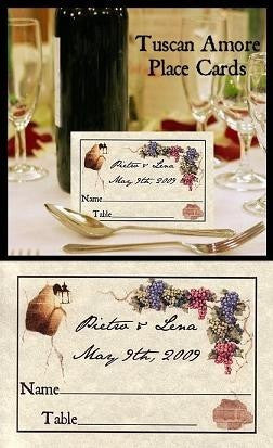Place Cards Tuscan Amore Italian Theme